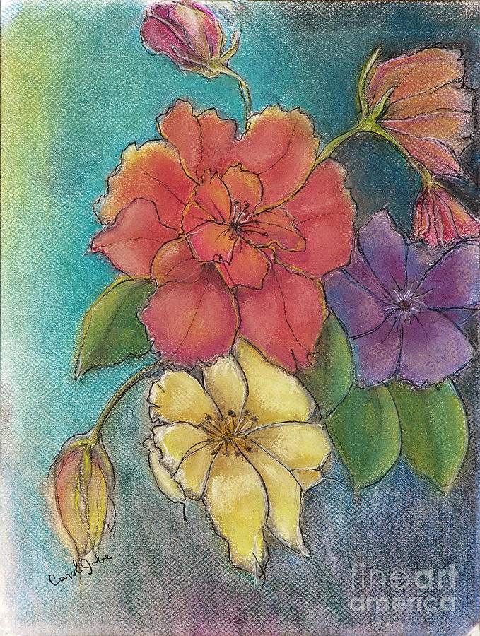 Colorful Flowers Drawing - Four Of A Kind by Carol Jobe