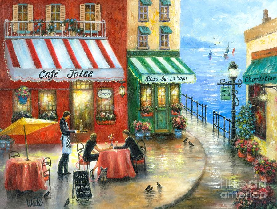 French Cafe By The Sea Painting By Vickie Wade
