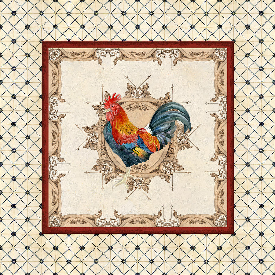 Etched Painting - French Country Roosters Quartet Cream 2 by Audrey Jeanne Roberts