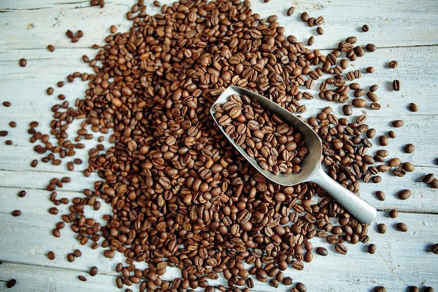 Coffee Photograph - Fresh Roasted Coffe Beans by Nailia Schwarz