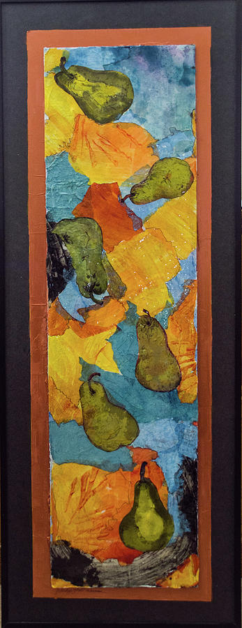 Paper Collage Painting - Freshly Picked Pears by Judith Ghetti Ommen