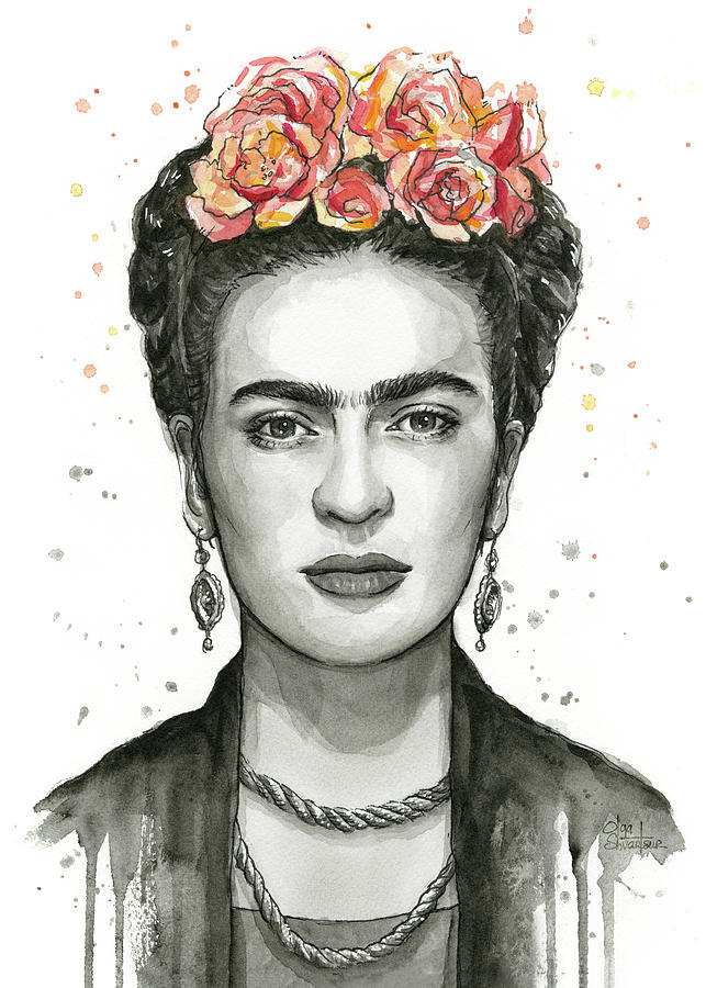 frida kahlo portrait painting by olga shvartsur. Black Bedroom Furniture Sets. Home Design Ideas