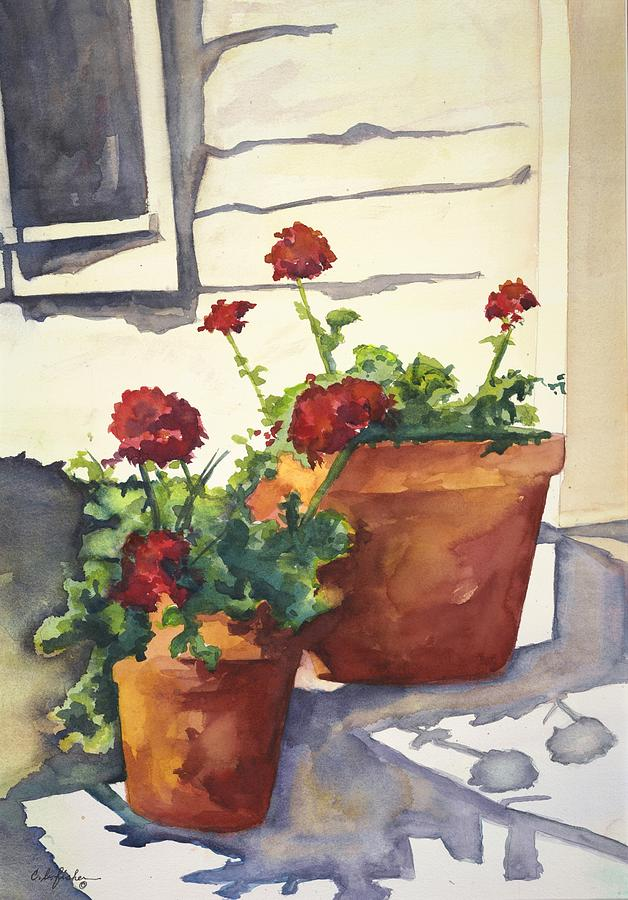 Geraniums Painting - Front Porch Geraniums  by Constance Fisher