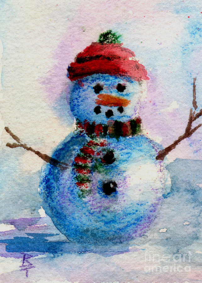 Snowman Painting - Frosty Aceo by Brenda Thour