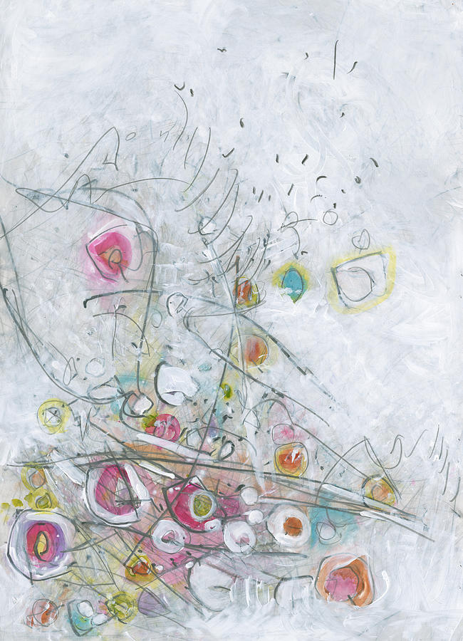Abstract Expressionism Painting - Fruit Salad On The Fourth Of July Picnic Table by Christine Alfery