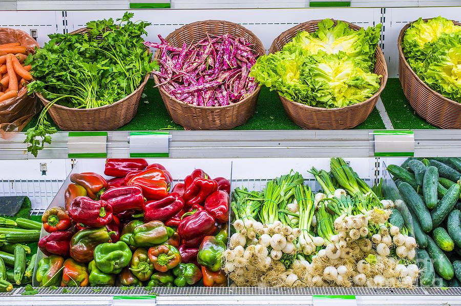 Aisle Photograph - Fruits And Vegetables On A Supermarket Shelf by Deyan Georgiev