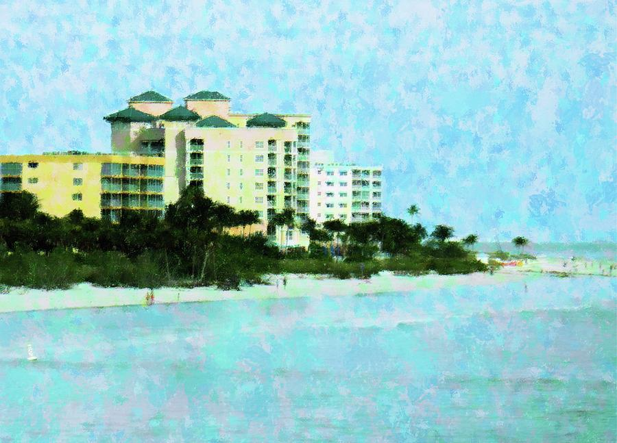 Beach Mixed Media - Ft Myers Beachfront by Florene Welebny