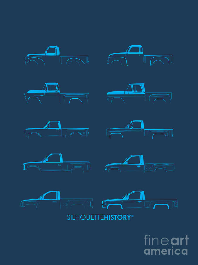 Pickup Digital Art - Fullsize Pickup Silhouettehistory by Balazs Iker