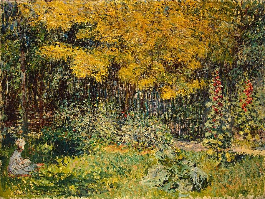Camille Monet Painting - Camille Monet In The Garden At Argenteuil by Claude Monet