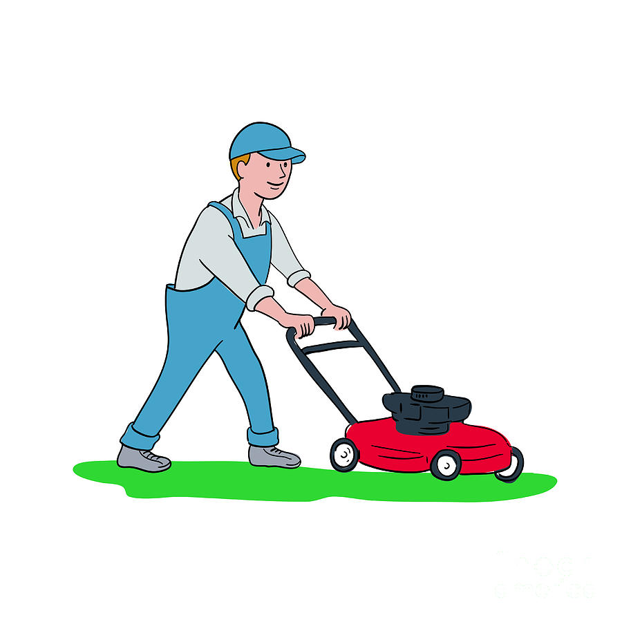Gardener Mowing Lawn Cartoon Digital Art By Aloysius