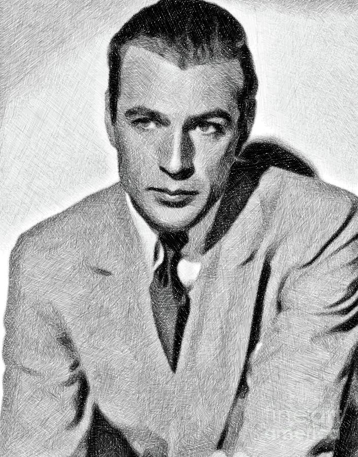 Gary Cooper, Vintage Actor By Js Drawing