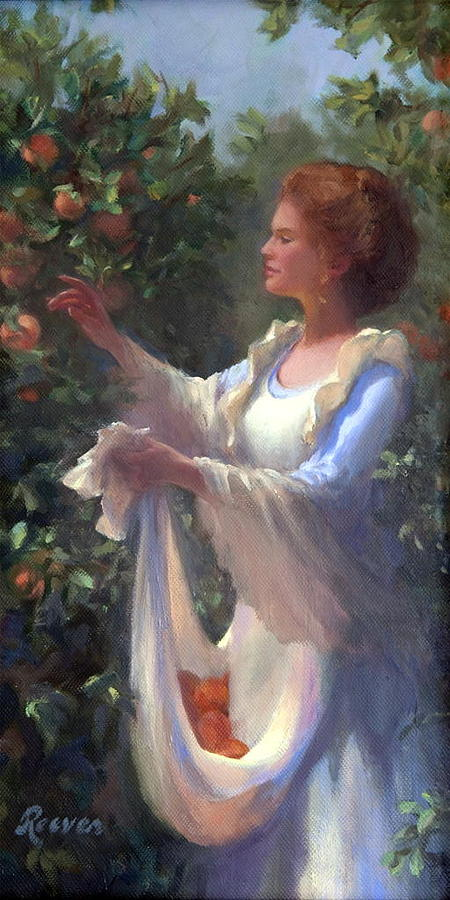 Beautiful Painting - Gathering Peaches by Diane Reeves