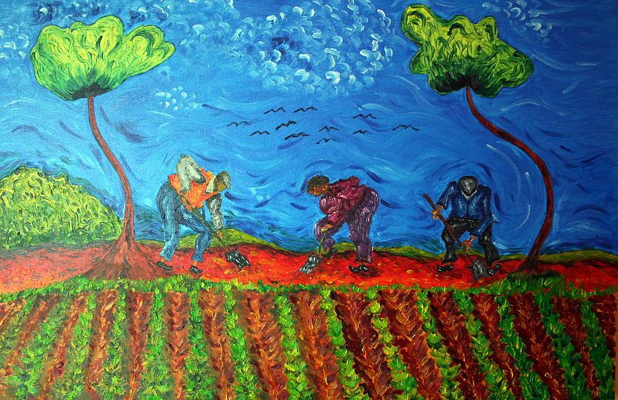 Farming Painting - Gathering Potatoes by Paul Morgan