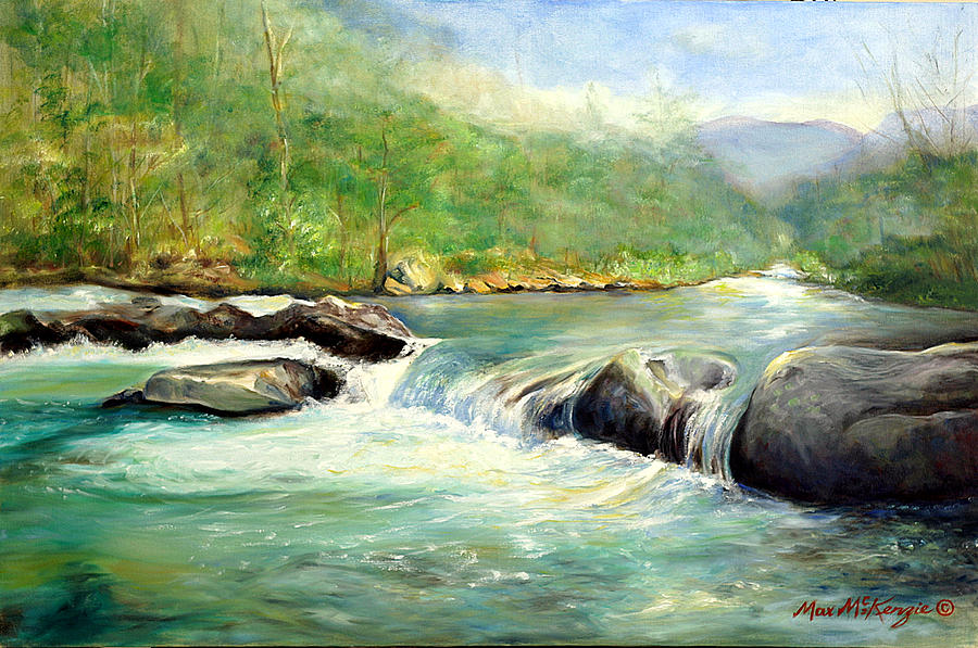 Water Painting - Gatlinburg River by Max Mckenzie