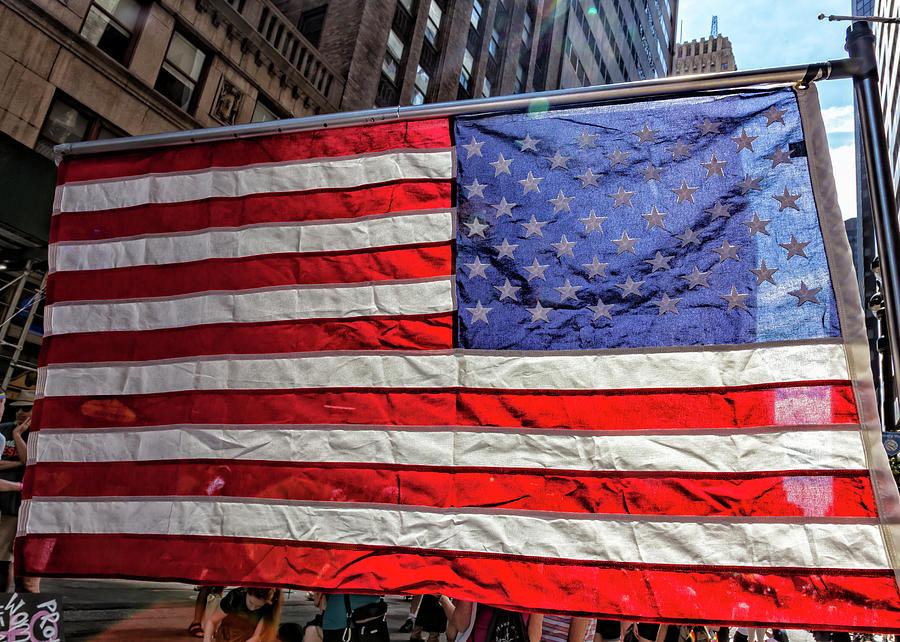 American Flag Photograph - Gay Pride 2017 Nyc American Flag by Robert Ullmann