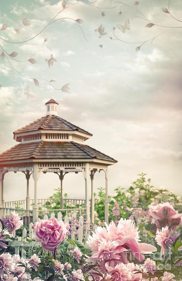 Atmosphere Photograph - Gazebo In Summer Flower Garden by Sandra Cunningham