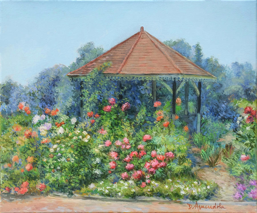Gardens Painting - Gazebo with flowers by Dominique Amendola