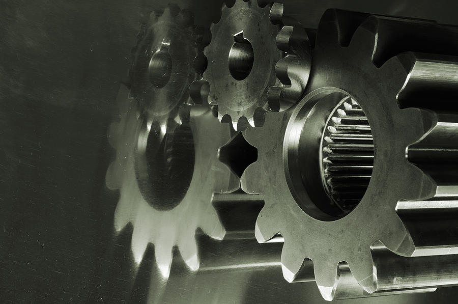 Gears Photograph - Gears And Cogwheels by Christian Lagereek