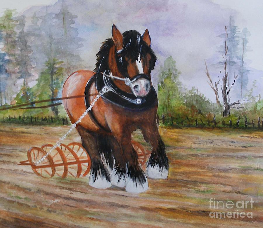 Horse Painting - Gentle Giant by Sibby S