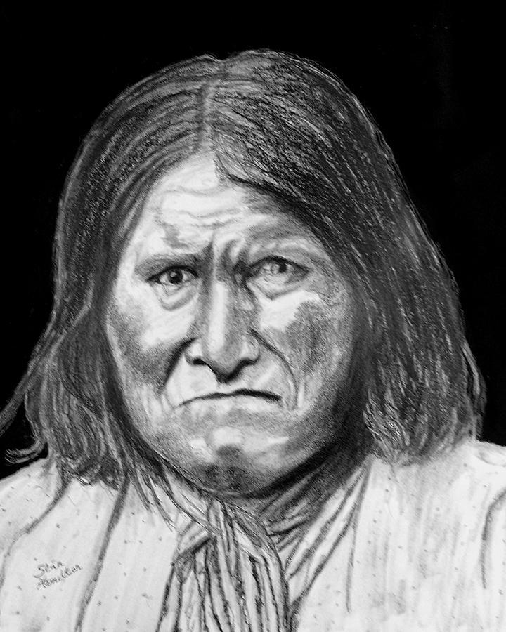 Indian Portrait Drawing - Geronamo by Stan Hamilton