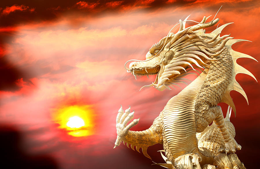 Red Photograph - Giant Golden Chinese Dragon by Anek Suwannaphoom