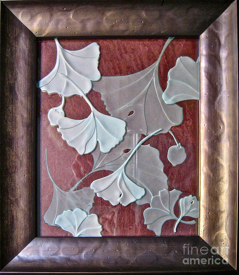 Red Glass Art - Ginko Leaves on Red by Alone Larsen