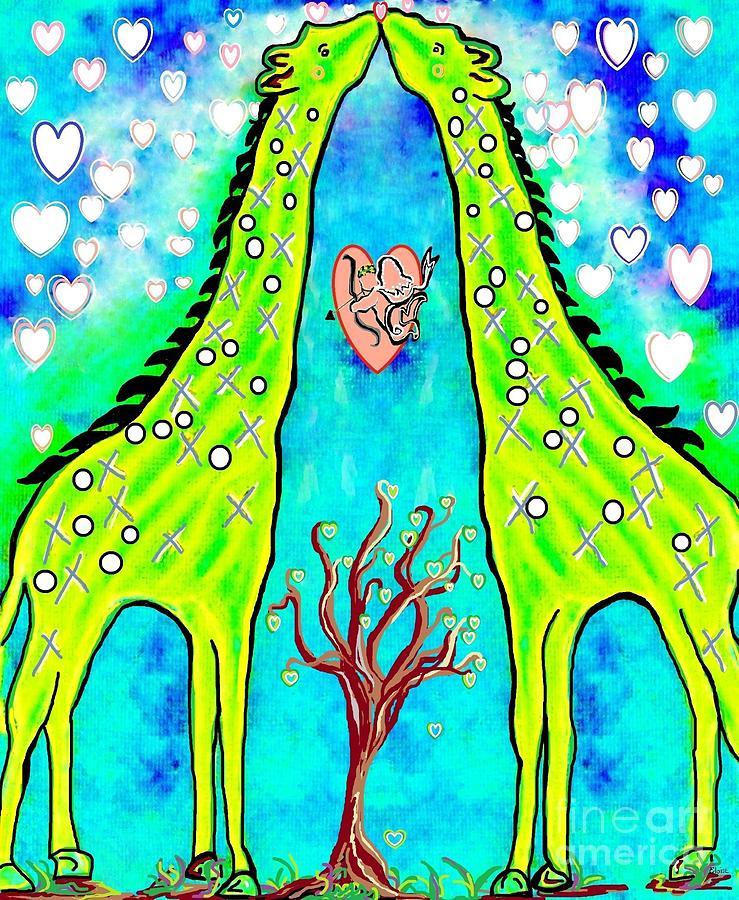 Giraffe Painting - Giraffe Kisses by Eloise Schneider
