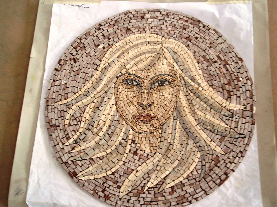 Girl In Stone Mosaic Relief by Petrit Metohu
