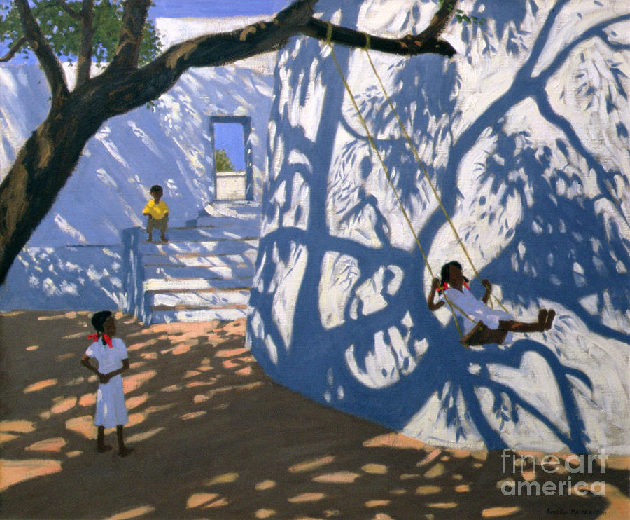 Child Painting - Girl On A Swing India by Andrew Macara