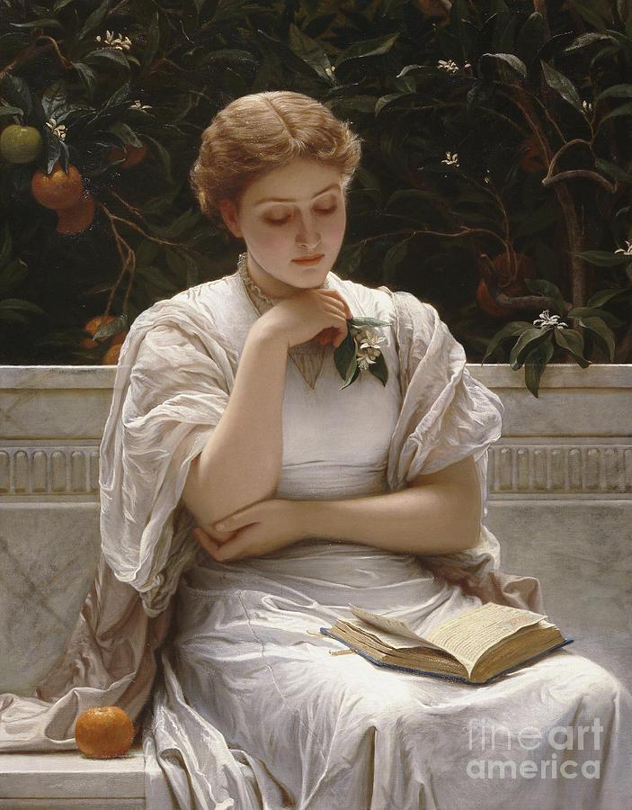 Girl Reading Painting - Girl Reading by Charles Edward Perugini