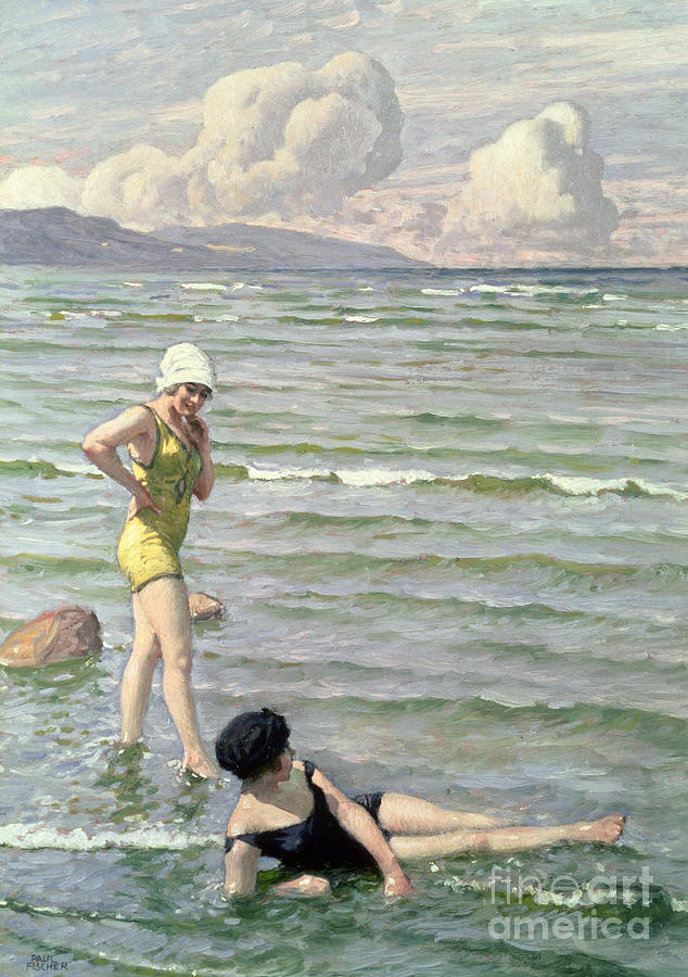 Girls Bathing Painting by Paul Fischer