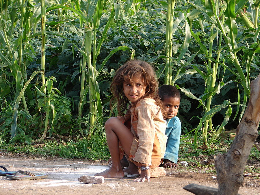 Girls In Her Own Field With Her Younger Brother Photograph by Sandeep Khanwalkar