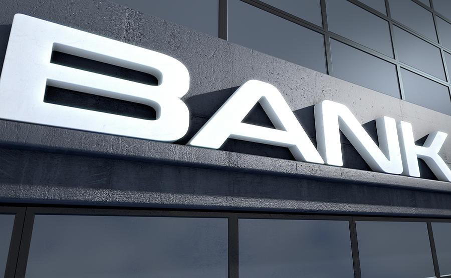 Bank Digital Art - Glass Bank Building Signage by Allan Swart