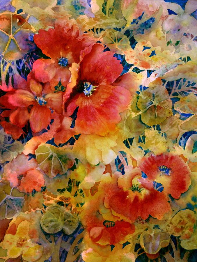 Nasturtium Painting - Glow by Ann  Nicholson