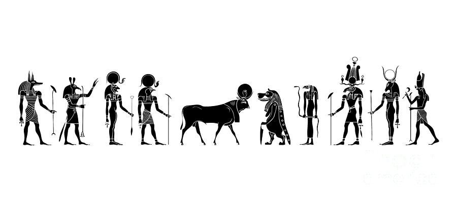 Egypt Digital Art - Gods And Goddess Of Ancient Egypt by Michal Boubin