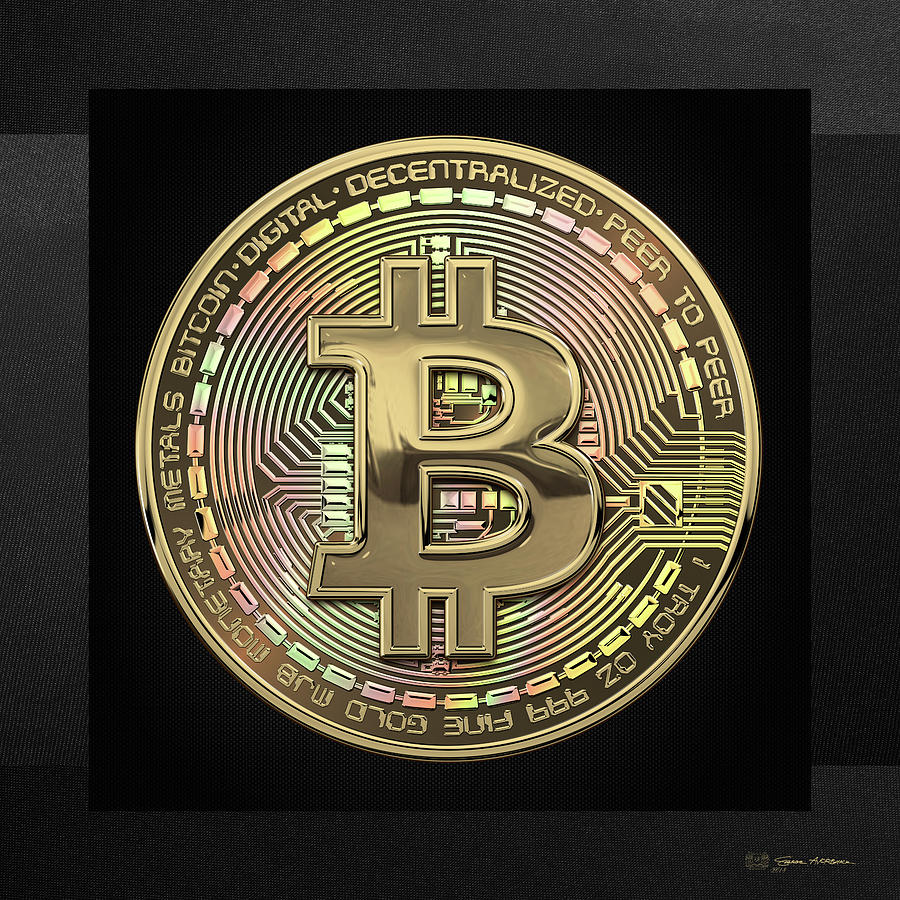 Money Photograph - Gold Bitcoin Effigy over Black Canvas by Serge Averbukh