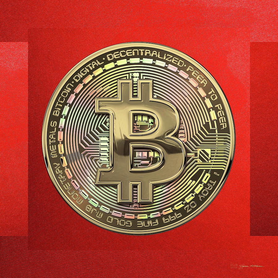 Money Photograph - Gold Bitcoin Effigy over Red Canvas by Serge Averbukh