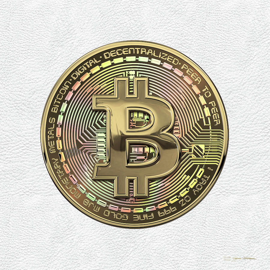 Money Photograph - Gold Bitcoin Effigy over White Leather by Serge Averbukh