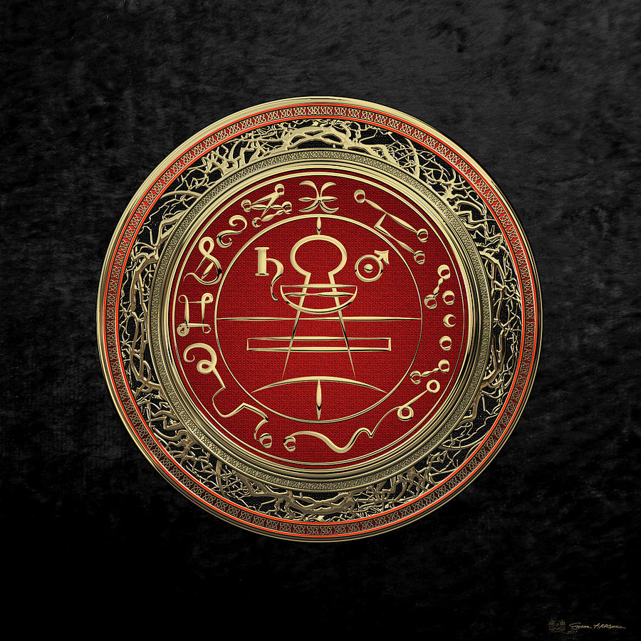 Spiritual Photograph - Gold Seal Of Solomon - Lesser Key Of Solomon On Black Velvet  by Serge Averbukh
