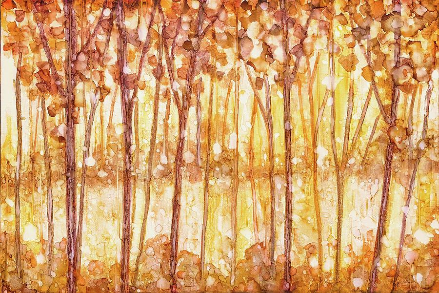 Ink Painting - Golden Forest by Jennifer Allison