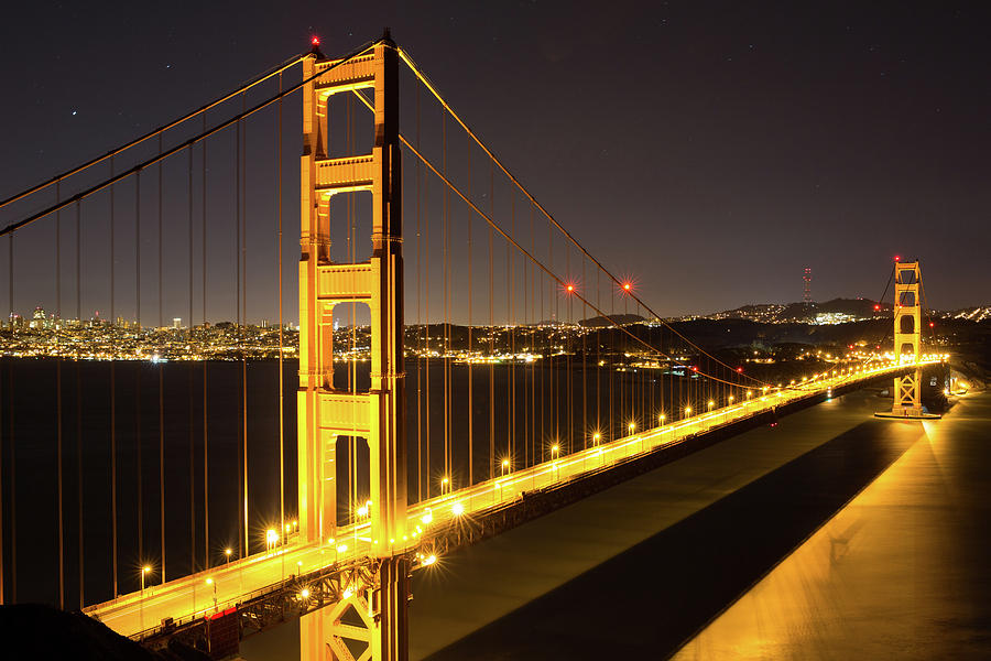 Architecture Photograph - Golden Gate Bridge At Night by Digiblocks Photography