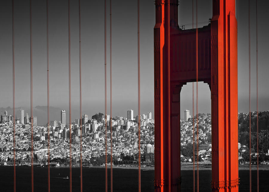 Skyline Photograph - Golden Gate Bridge Panoramic by Melanie Viola