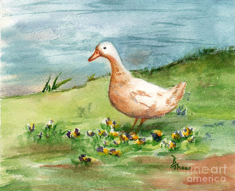 Goose Painting - Golden Goose by Brenda Thour