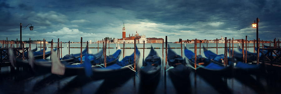 Gondola and San Giorgio Maggiore island panorama by Songquan Deng