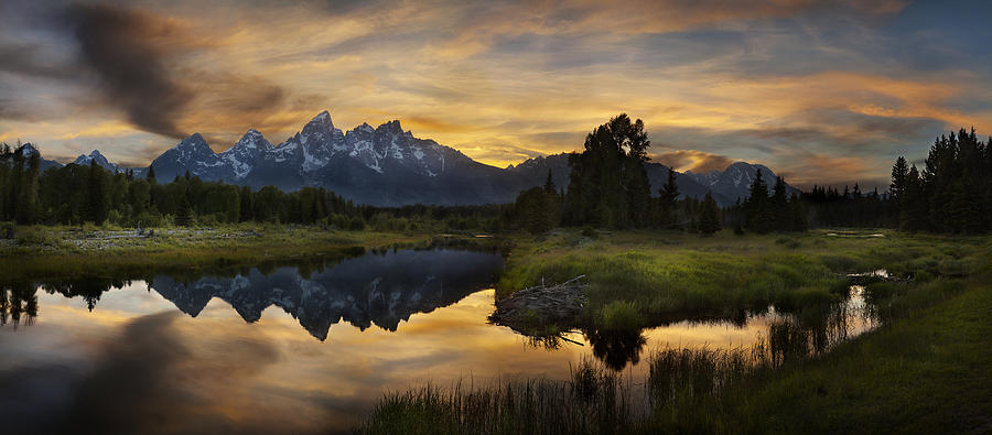 Grand Tetons Photograph - Grand Teton Sunset Reflections by Sun Gallery Photography Lewis Carlyle