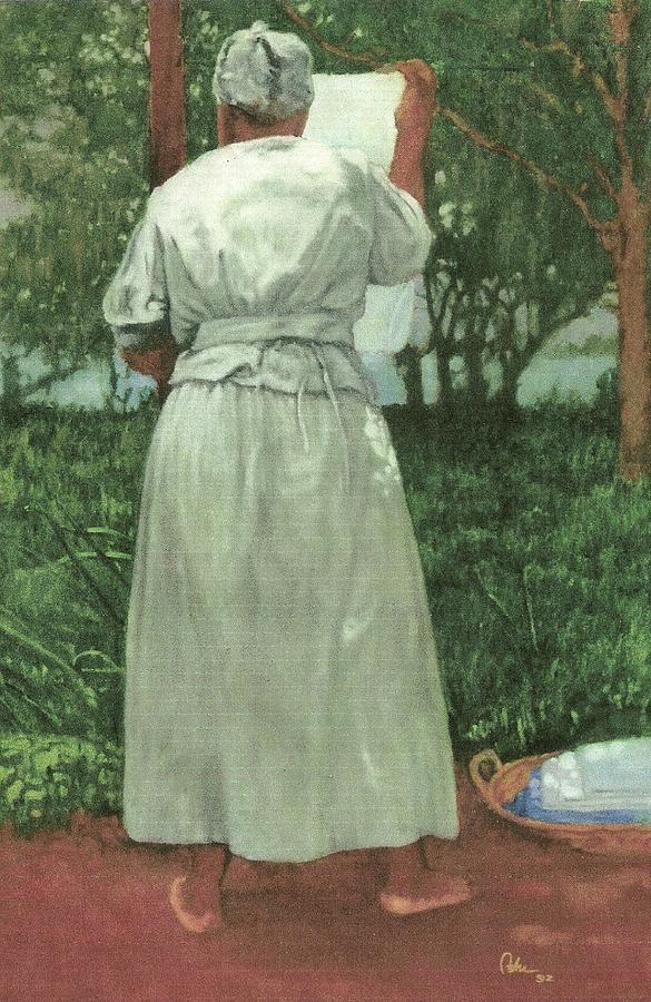 Black Culture Painting - Granny At The Line by Perry Ashe
