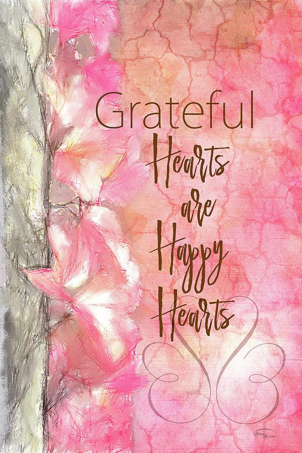 Sentiment Digital Art - Grateful Hearts by Ramona Murdock