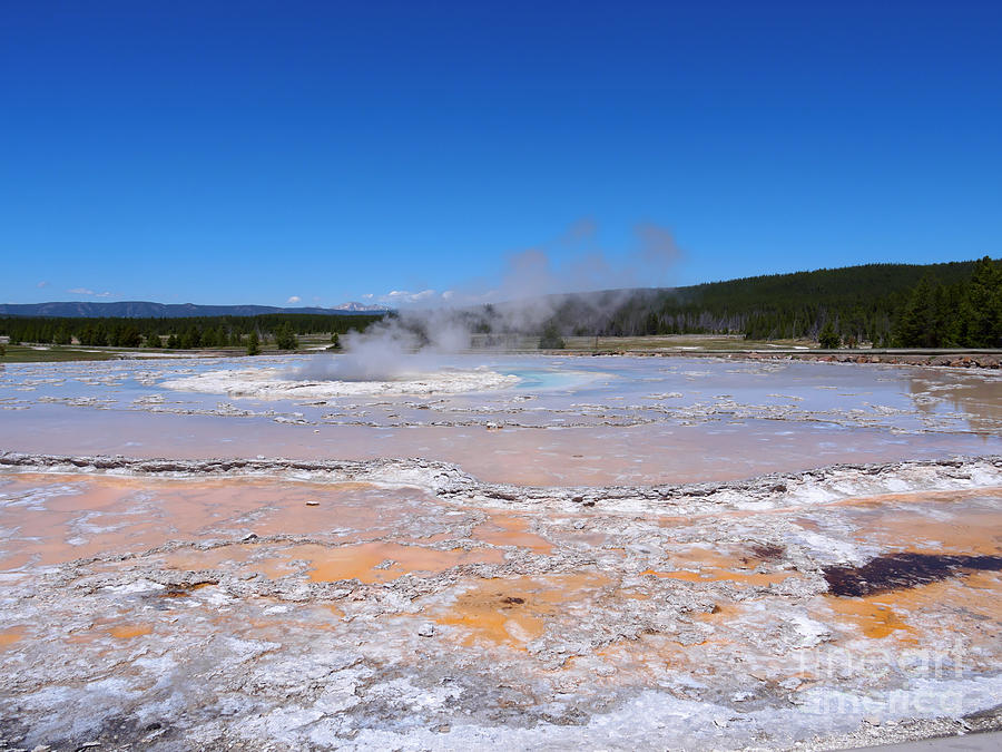 Pool Photograph - Great Fountain Geyser In Yellowstone National Park by Louise Heusinkveld