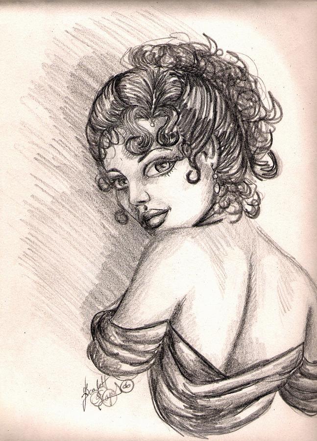 Graphite Drawing - Greek Goddess by Scarlett Royal