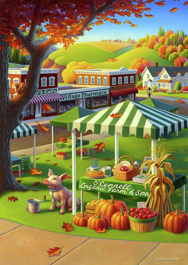 Farmer's Market Painting - Green Living  by Robin Moline